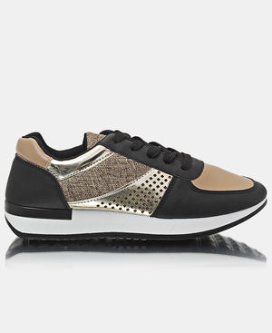 Ladies' Storm Sneakers - Black-Gold