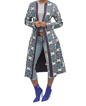 Ethnic Midi Jacket - Blue