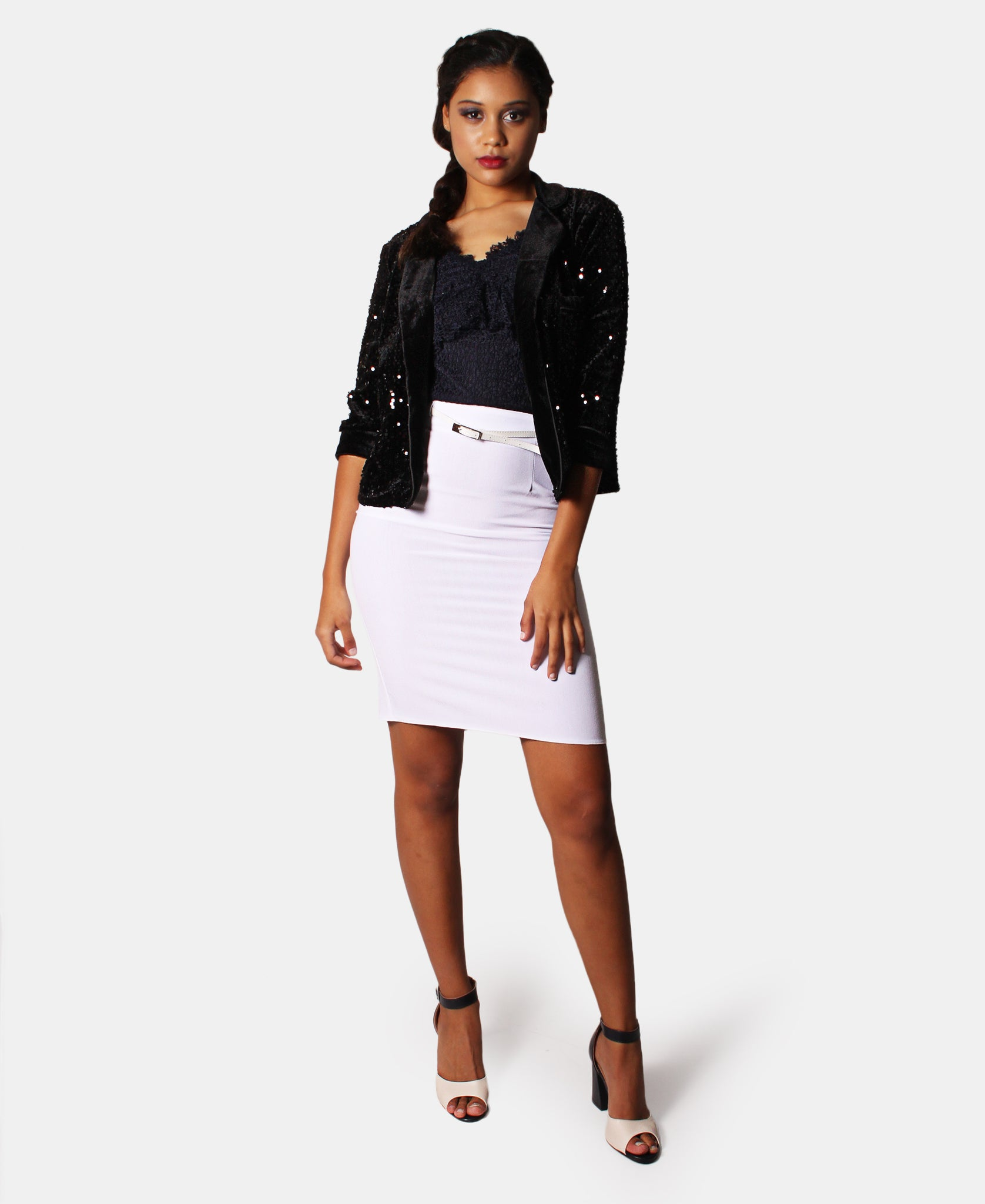 Sequins Short Blazer - Black