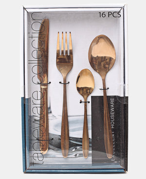 Excellent Houseware 16 Piece Cutlery Set - Gold