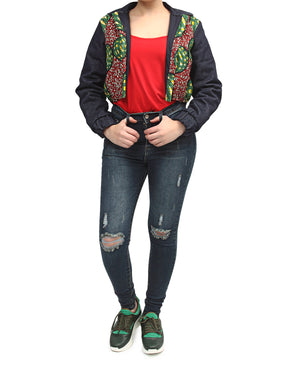 Ethnic And Denim Cropped Bomber Jacket - Red