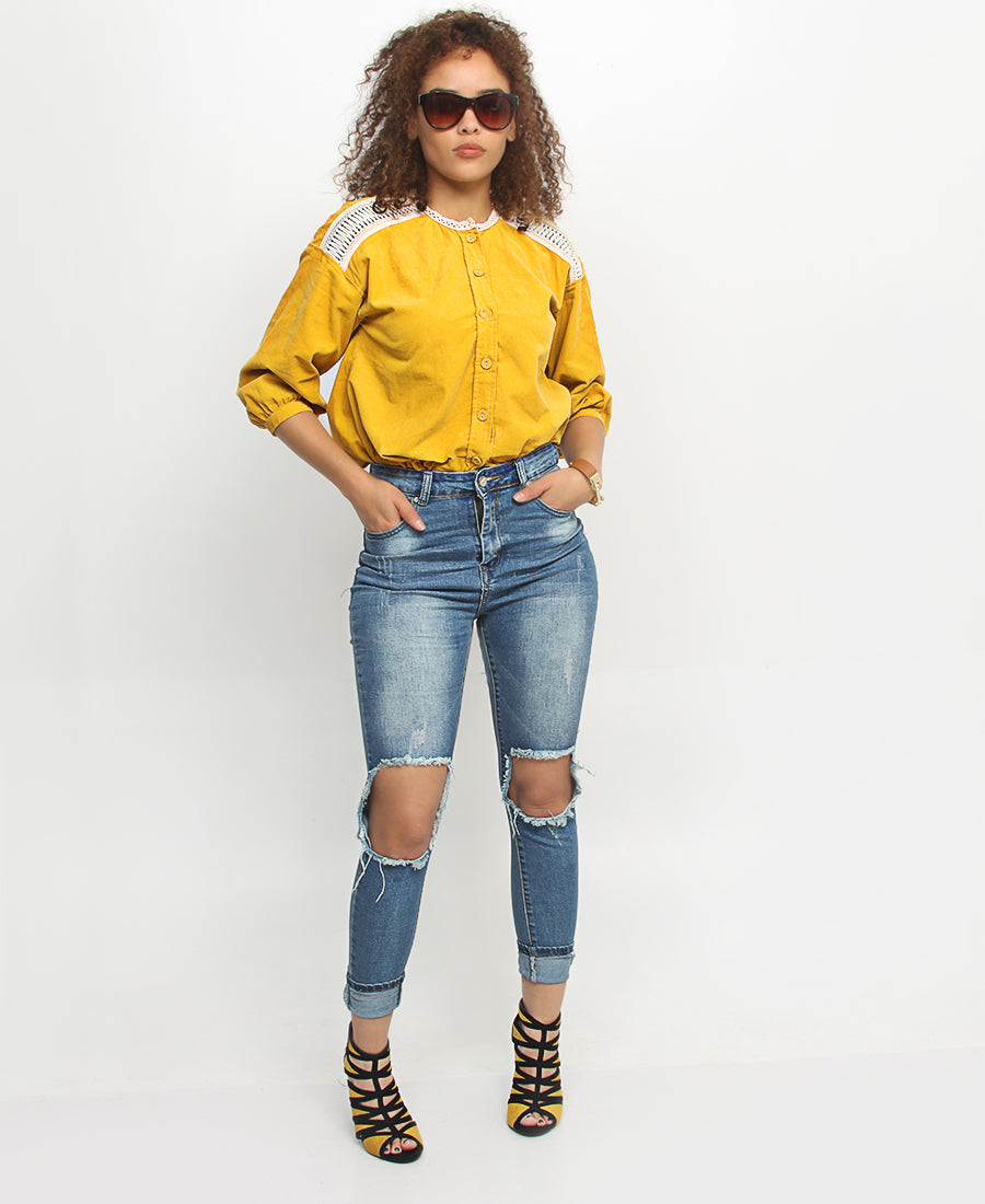 3/4 Sleeve Top - Mustard