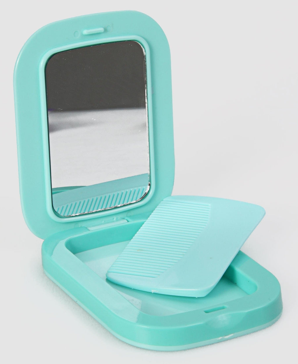 Compact Mirror With Comb - Turquoise