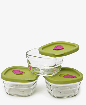 3 Piece Heat Baby Food Containers - Green