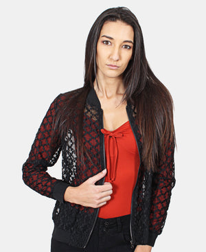 Embroidered Mesh Jacket  - Black