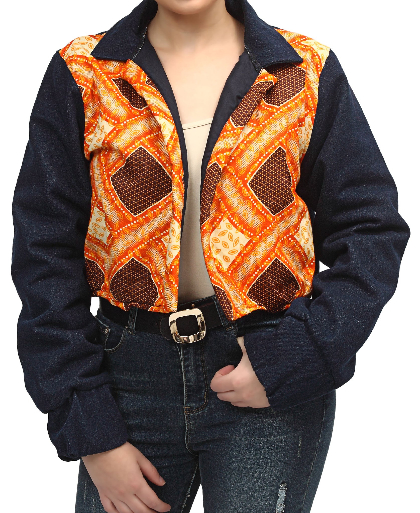 Ethnic And Denim Cropped Bomber Jacket - Orange