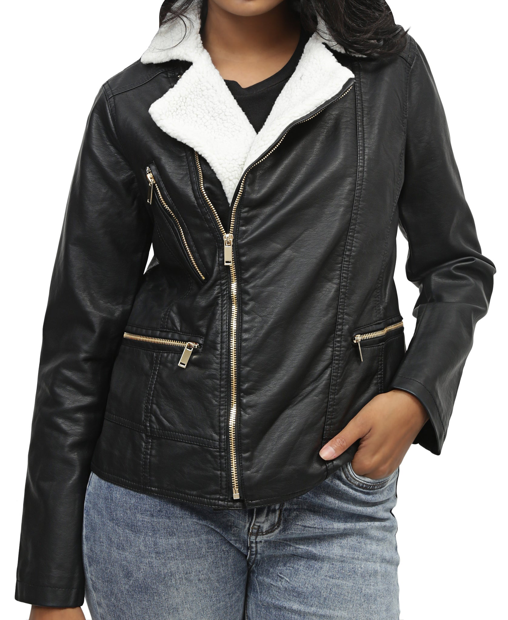 Ladies' Biker Jacket - Black