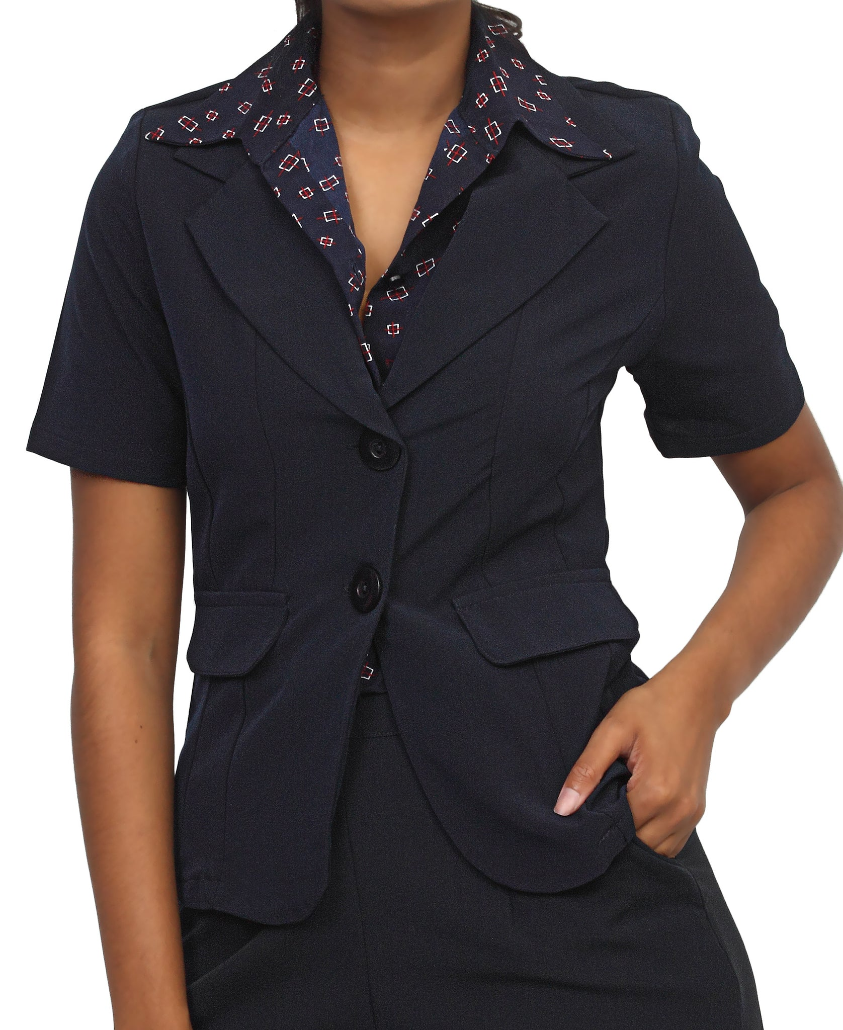Short Sleeve Blazer - Navy
