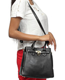 Genuine Leather Tote Bag - Black