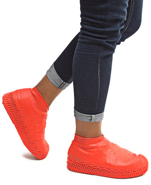 Waterproof Non-Slip Shoe Covers - Red