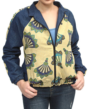 Raglan Ethnic And Denim Bomber Jacket - Cream