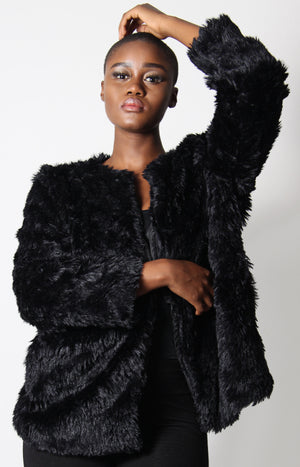Thick Soft Fur Coat - Black