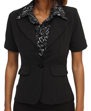 Short Sleeve Blazer - Black