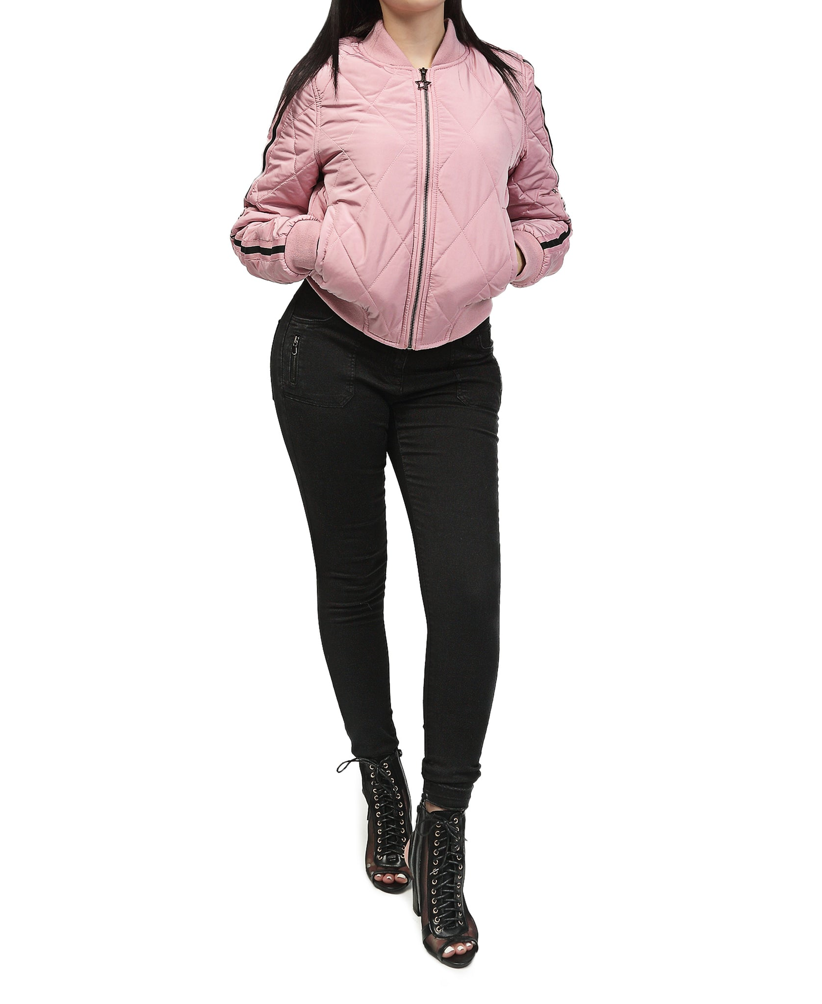 Bellevue Quilted Bomber Jacket - Pink