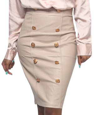 Button Detail Skirt - Khaki