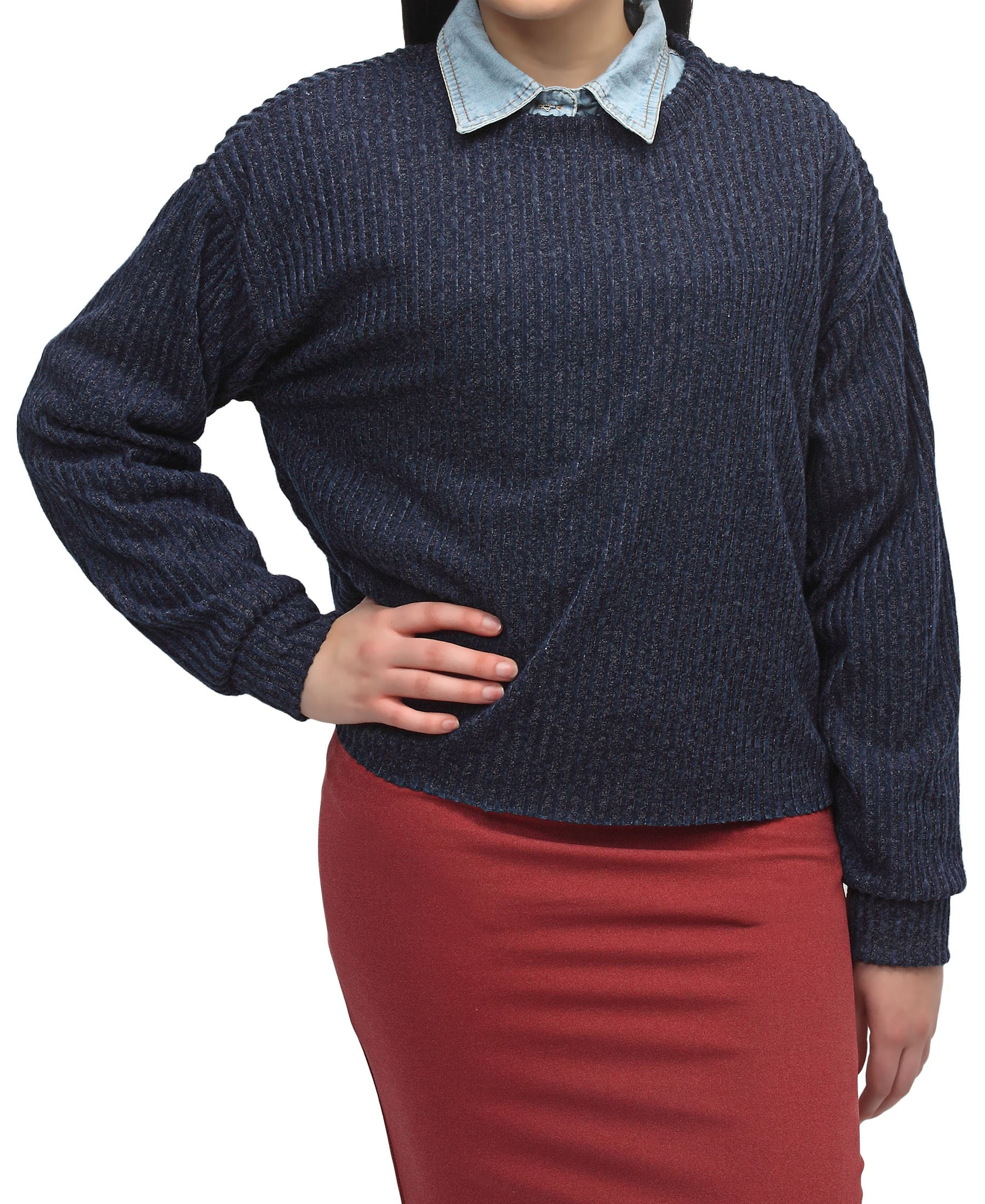 Ribbed Sweater - Navy