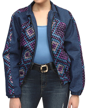 Raglan Ethnic And Denim Bomber Jacket - Blue