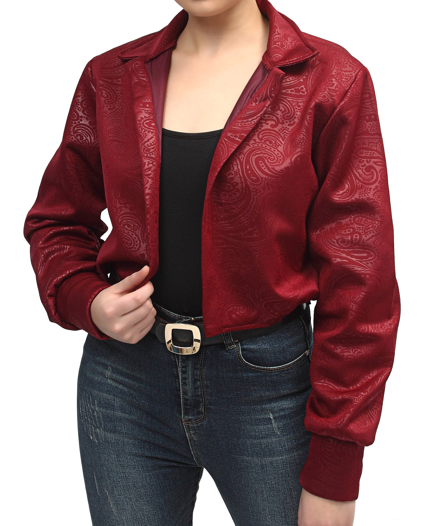 Embossed Scuba Cropped Jacket - Maroon