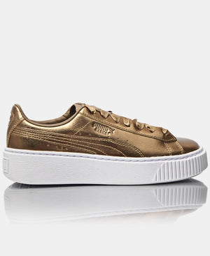 Ladies Platform Luxe Sneakers - Gold