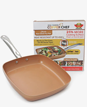 Copper Chef 24cm Non Stick Square Pan - Choc