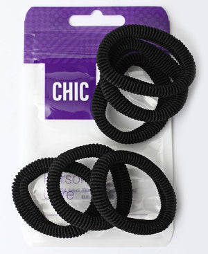 6 Pack Hair Ties - Black