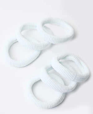 6 Pack Hair Ties - White