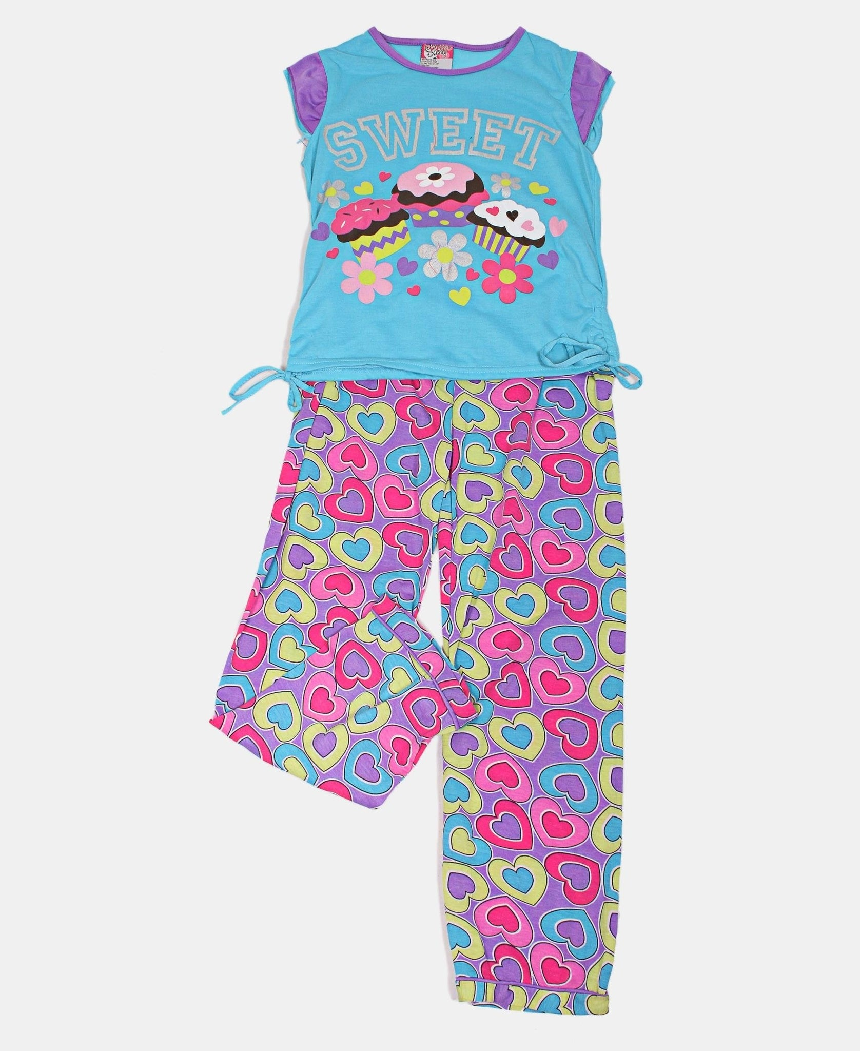 Girls Printed Pyjama Set - Purple