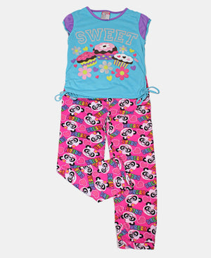 Girls Printed Pyjama Set - Pink