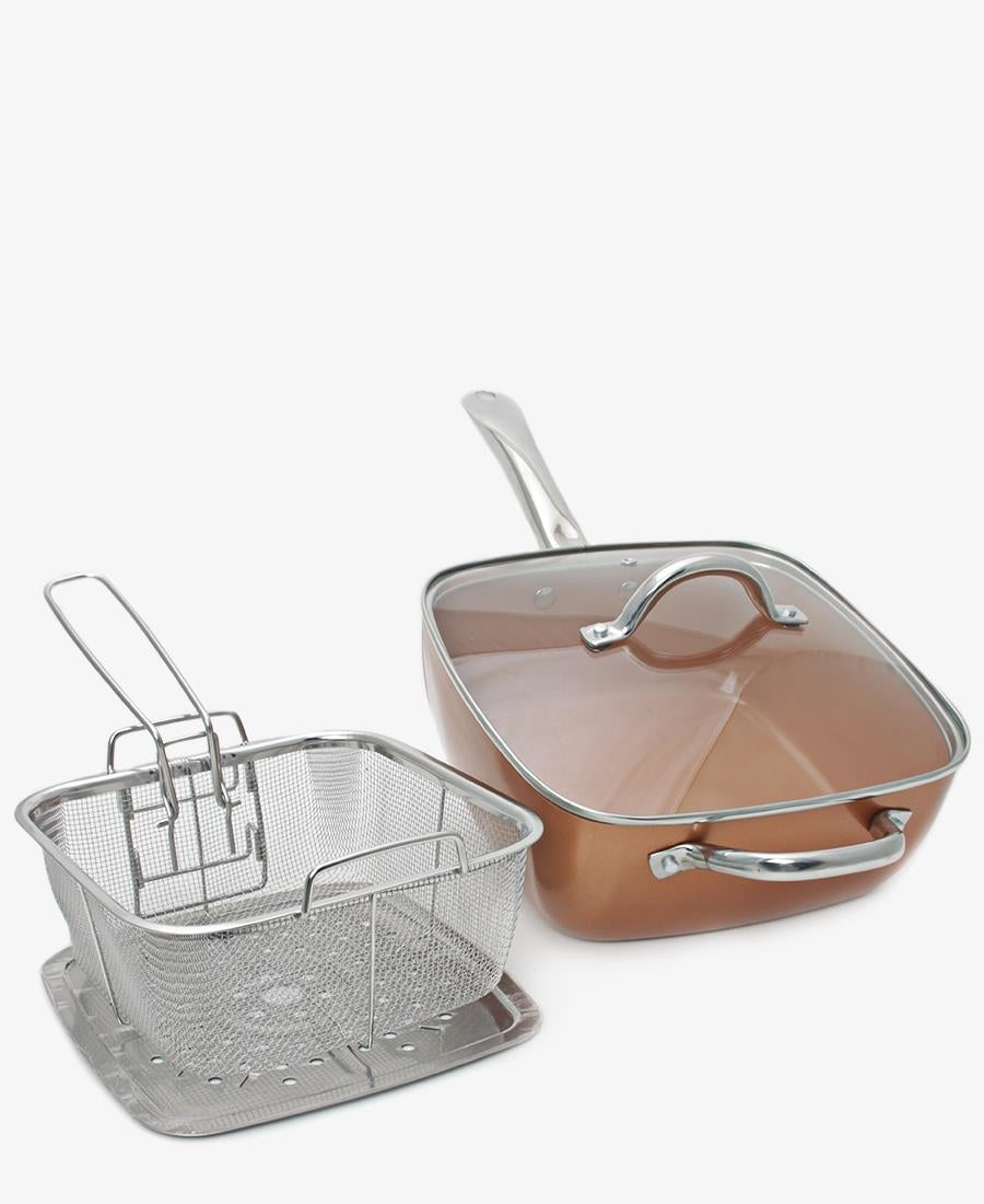Copper Chef 5 Piece 24cm Deep Pan - Choc