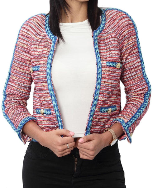 Bright Boucle Jacket - Red