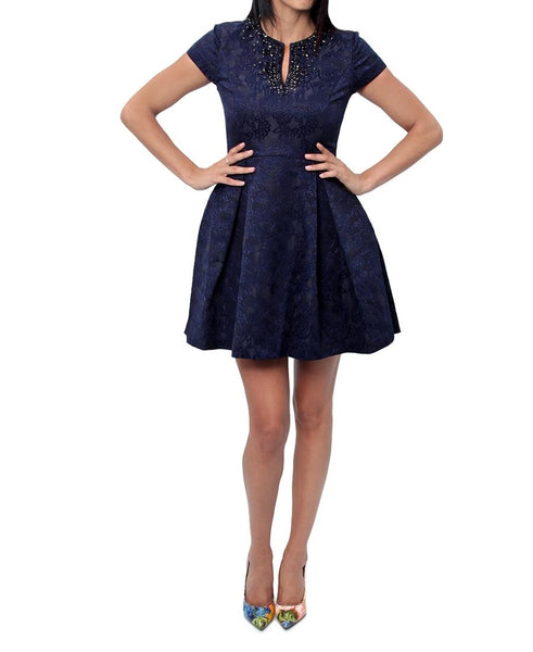 Jacquard Dress - Navy