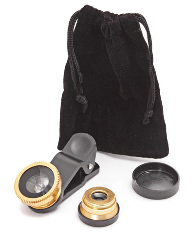 3 in 1 Camera Phone Lens - Gold