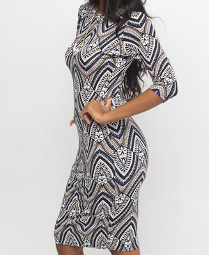 Printed Bodycon Dress - Navy