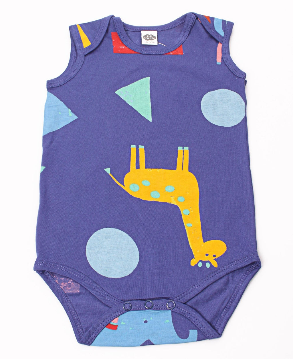 Infants Animal Print Sleeveless Cotton Romper - Navy