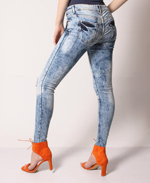 Mid Rise Distressed Skinny Jeans - Blue