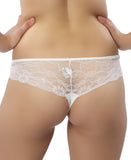 Lace Back Thong - White