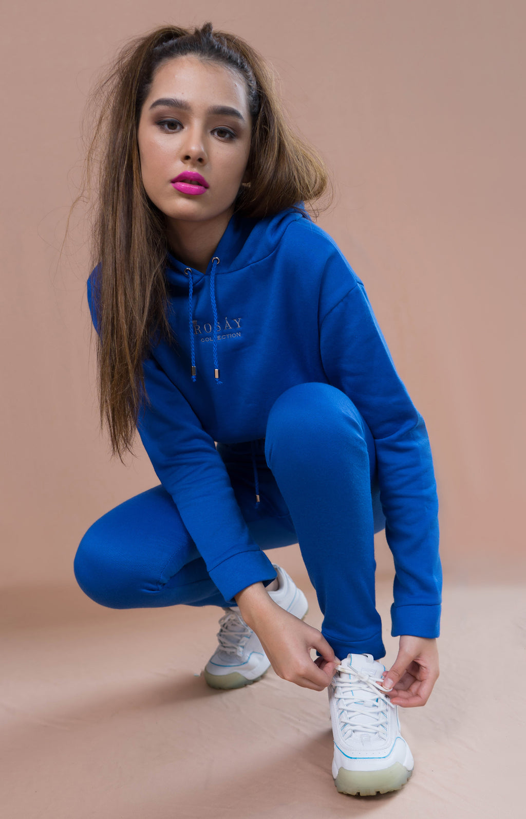 Ladies' Cropped Hoodie & Joggers Set - Blue