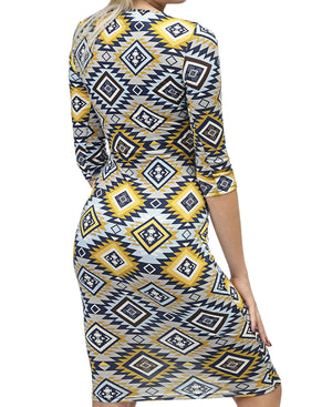Printed Bodycon Dress - Yellow