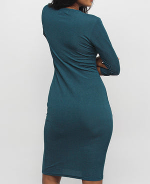 Chevron Ripple Cotton Knit Bodycon Dress - Teal