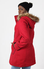 Fur Hoody Button Front Coat - Red - planet54.com