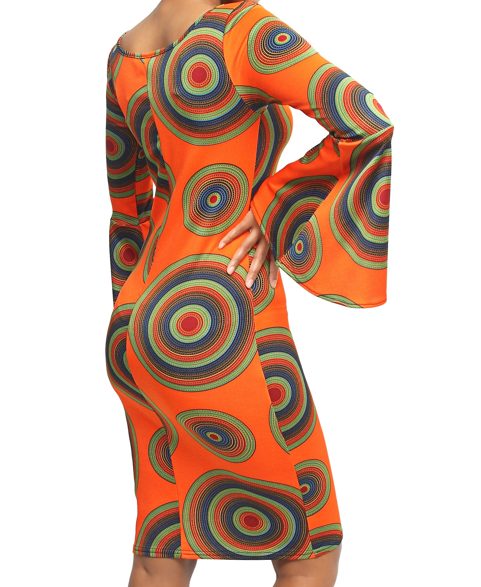 Bell Sleeve Dress - Orange