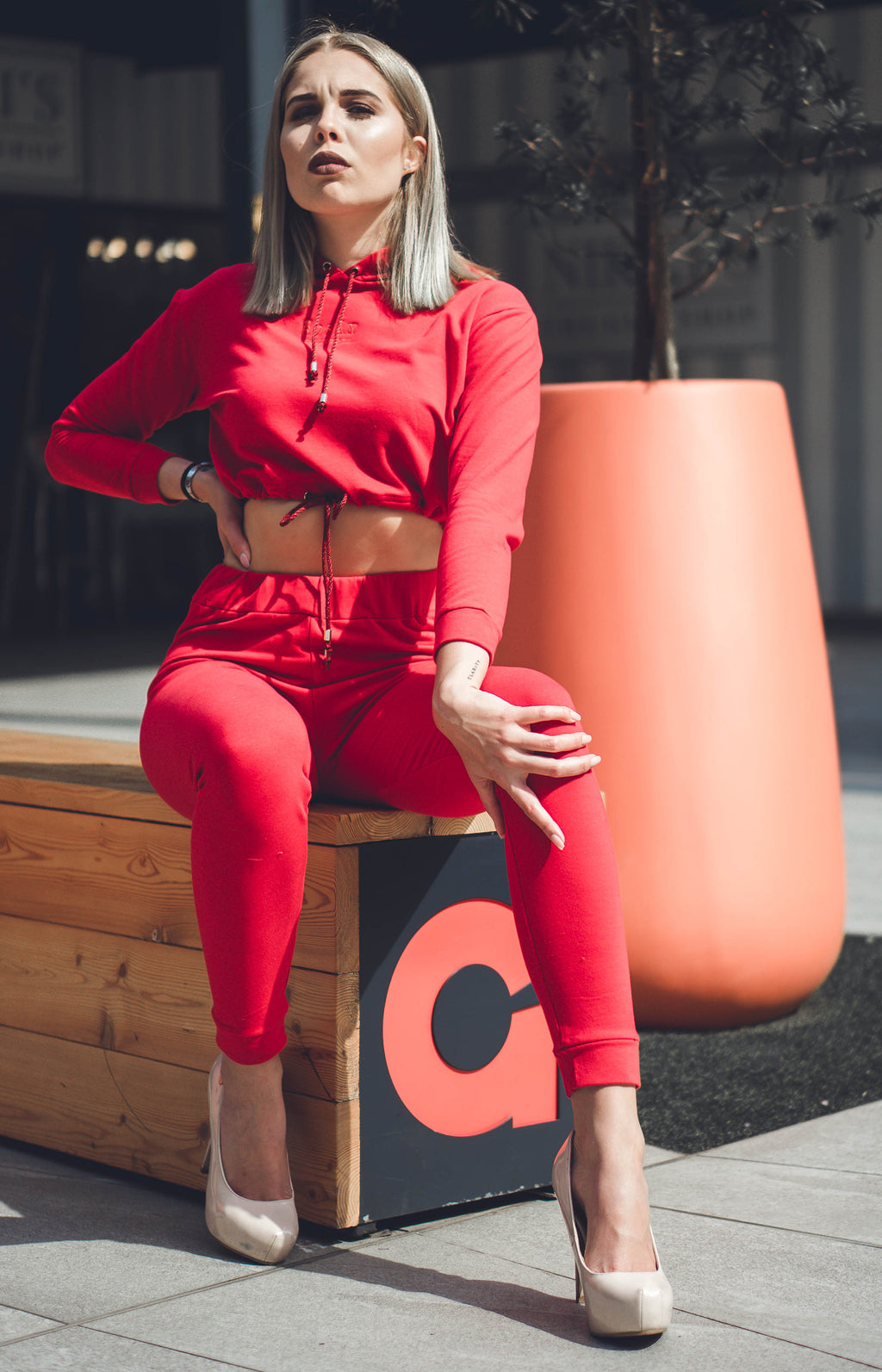 Ladies' Cropped Hoodie & Joggers Set - Red