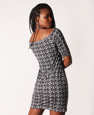 Off Shoulder Slinky Dress - Black-White