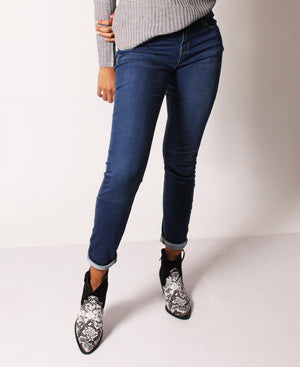 Mid Rise Stretch Skinny Fit Jeans - Navy