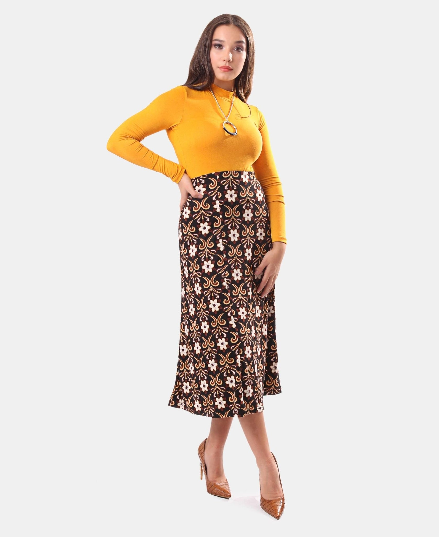 Midi Skirt - Brown