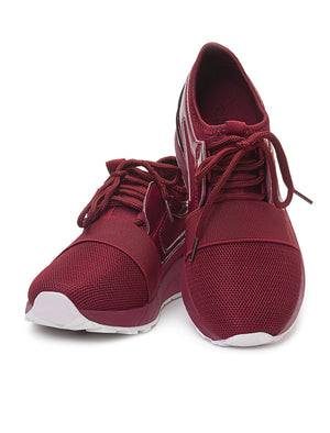 Ladies' Detailed Sneakers - Burgundy