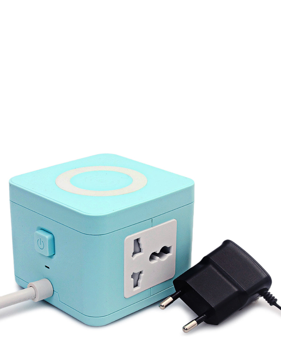 Multi Adaptor Tower With Wireless Charger - Blue