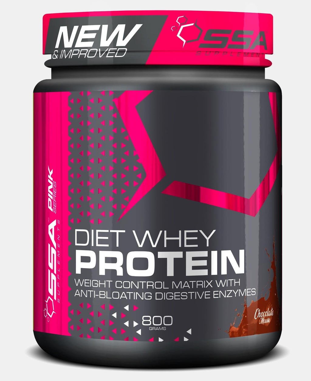 800G Pink Diet Whey Chocolate Mousse - Black