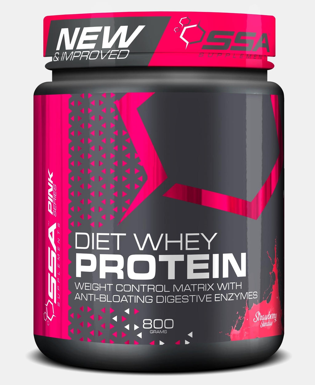 800G Pink Diet Whey Strawberry Sundae - Black