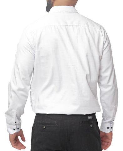 Modern Fit Shirt - White-Navy